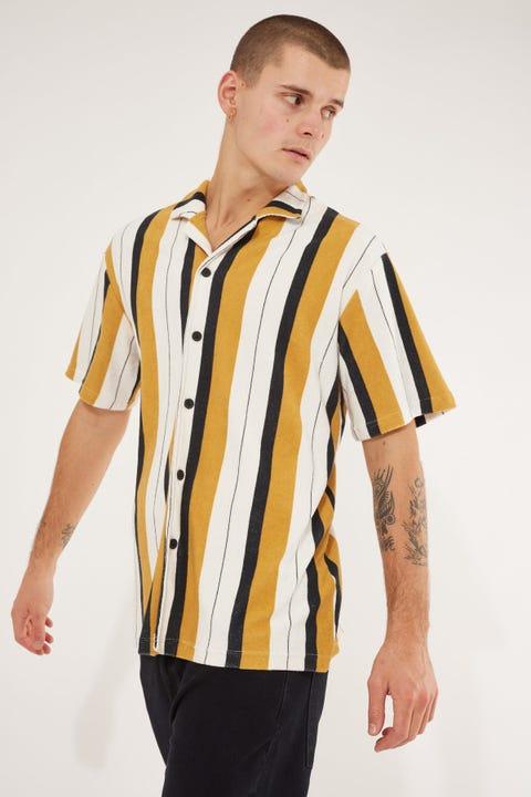 Common Need Cabo Towelling Resort Collar Shirt Black/Gold/Bone