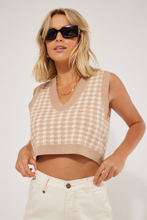 Luck & Trouble Cropped Check Knit Vest Nude Print