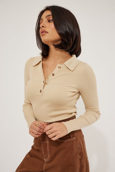 Perfect Stranger Long Sleeve Collared Knit Top Nude