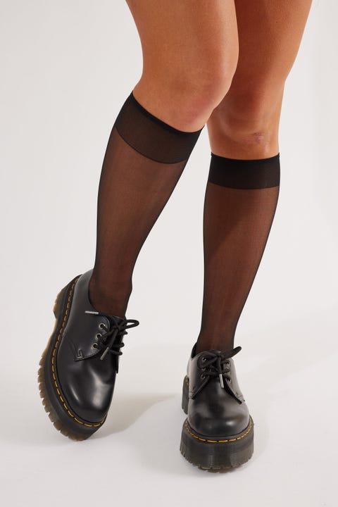 Token Knee High Sheer Mesh Socks Black