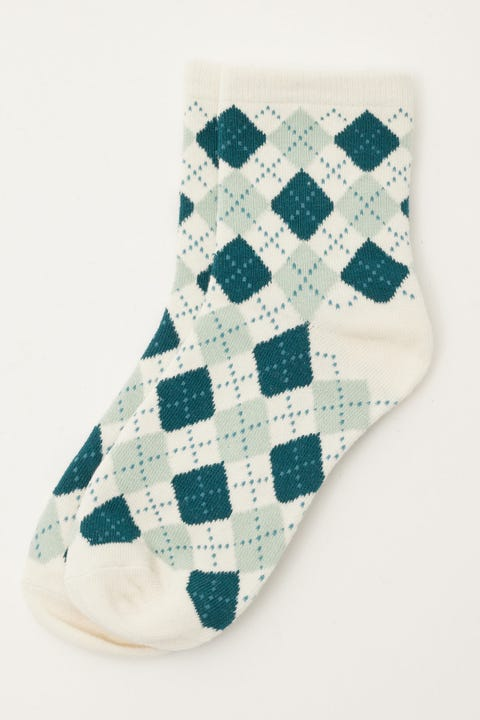 Token Argyle Sock Teal Check