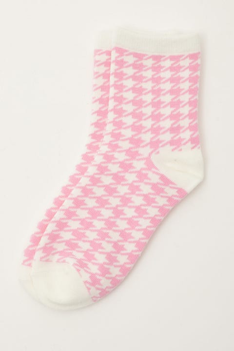 Token Houndstooth Sock Pink/White