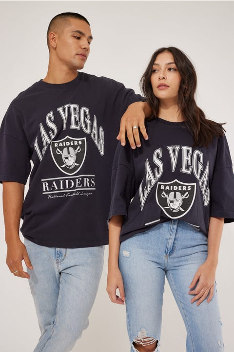 Majestic Athletic Vintage NFL Raiders Arch OS Tee Faded Black