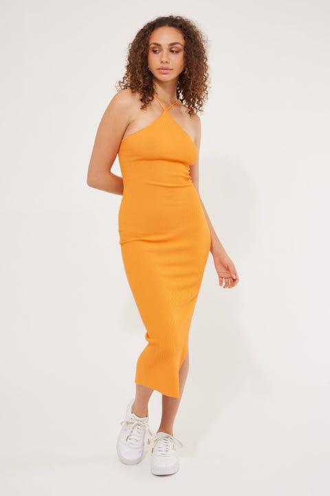 Perfect Stranger Florida Knit Midi Dress Orange