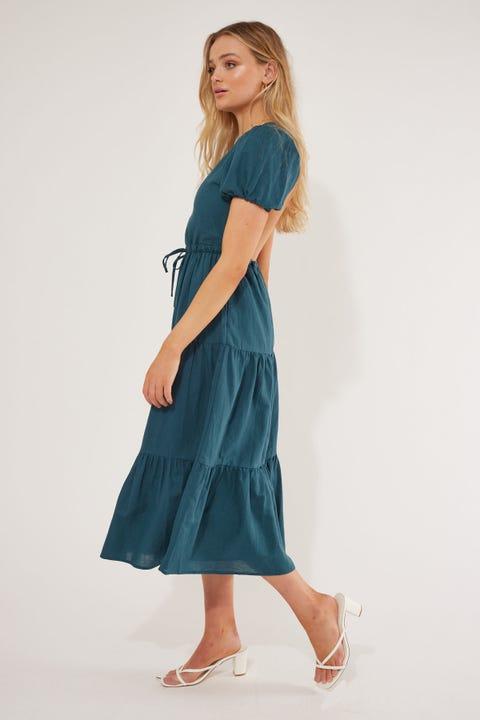 Perfect Stranger River Midi Dress Teal
