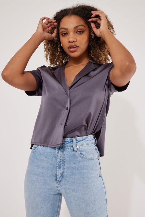 Perfect Stranger Hannah Button Up Satin Shirt Charcoal