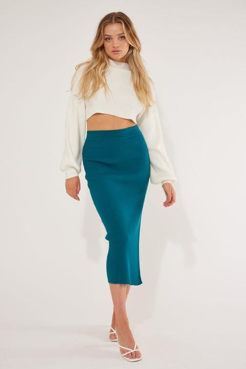 Perfect Stranger Hamilton Knit Midi Skirt Teal