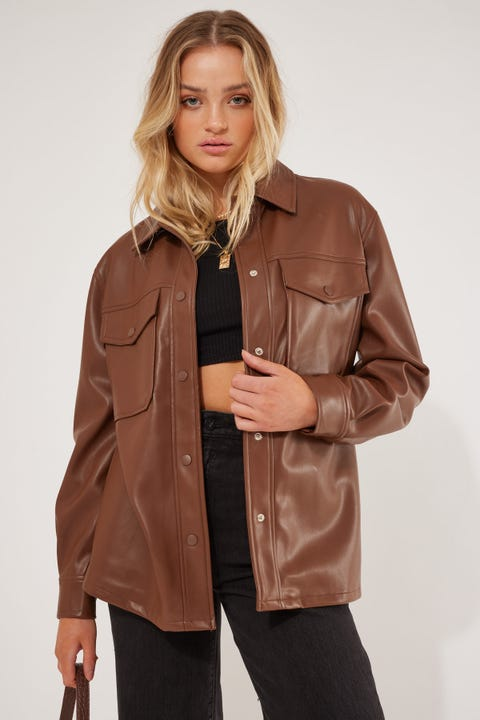 Perfect Stranger Trinity Faux Leather Shacket Brown