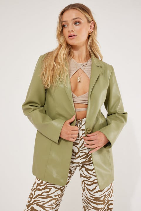 Luck & Trouble Faux Leather PU Blazer Sage