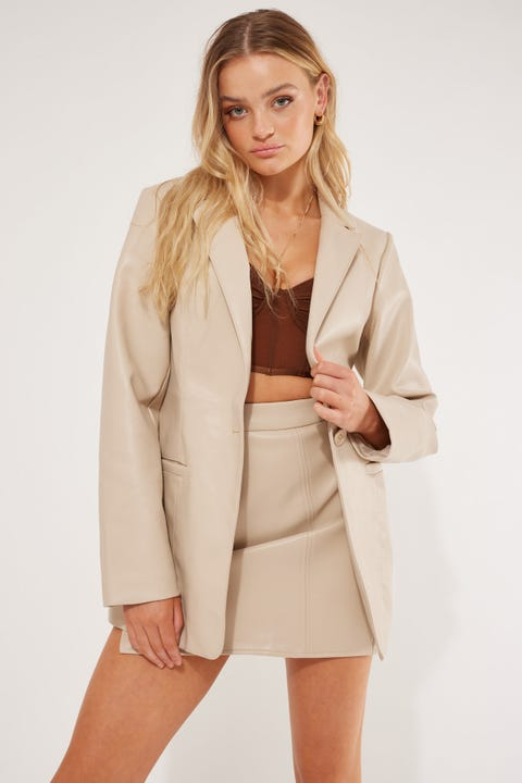 Luck & Trouble Faux Leather Blazer Cream