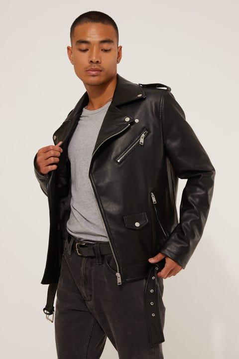 Common Need Faux Leather Biker Jacket Black