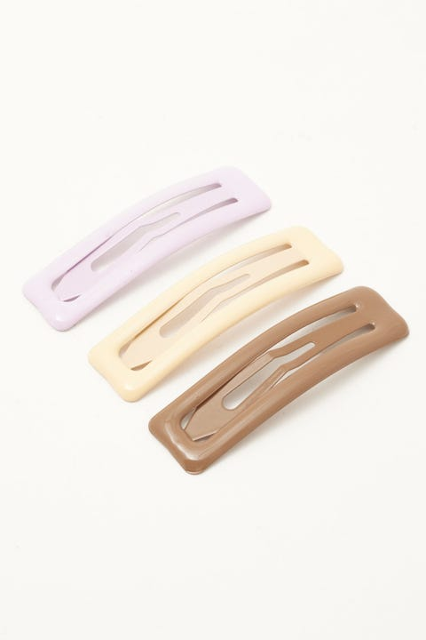 Token Snap Hair Clips 3 Pack Chocolate/Cream/Lilac