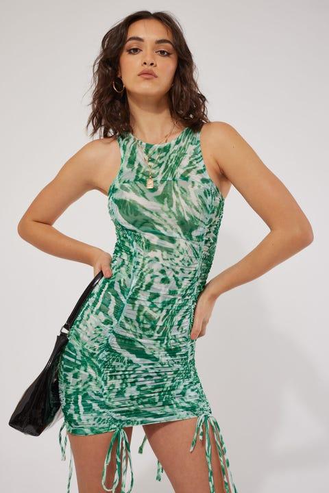 By.dyln Hailey Dress Green Printed Mesh
