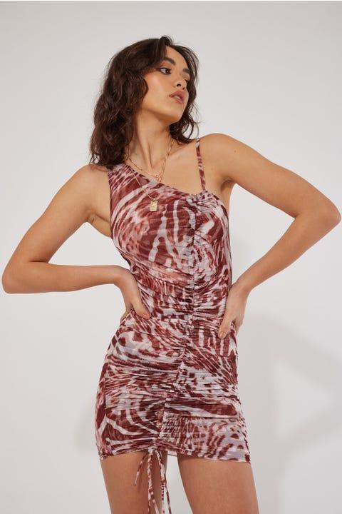 By.dyln Kaia Dress Choc Printed Mesh