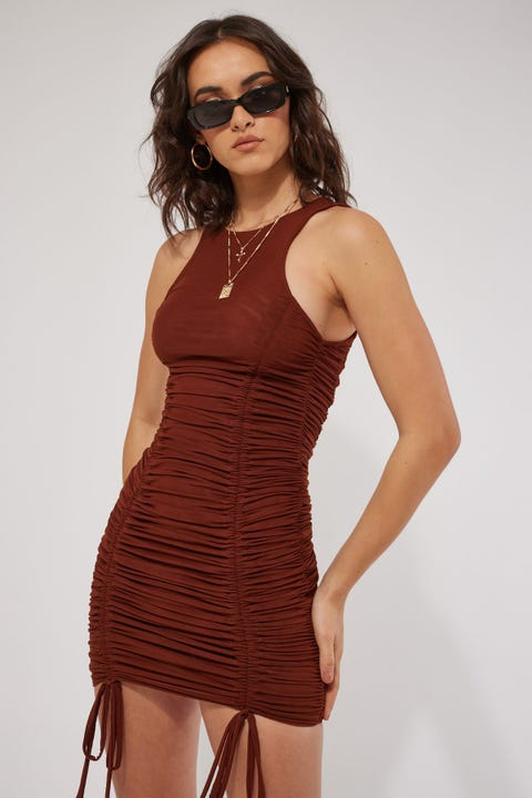 By.dyln Hailey Dress Choc Mesh