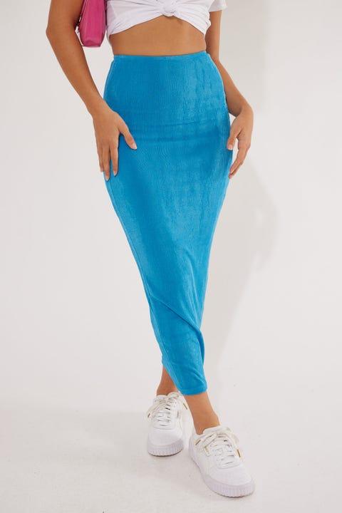 Luck & Trouble Fantasy Midi Skirt Blue
