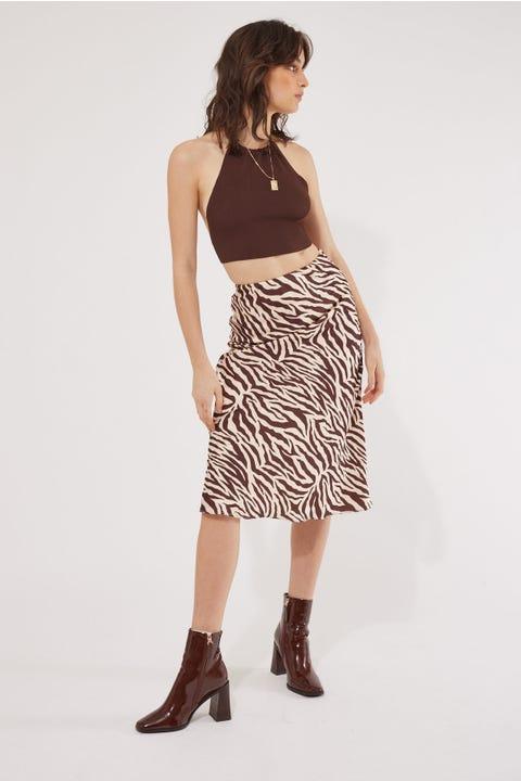 Luck & Trouble Zebra Satin Midi Skirt Zebra Print