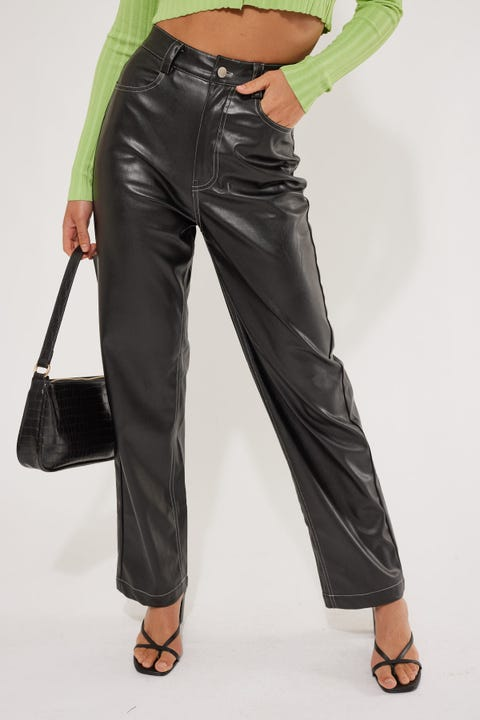 Perfect Stranger Play It Cool Faux Leather Pant Black