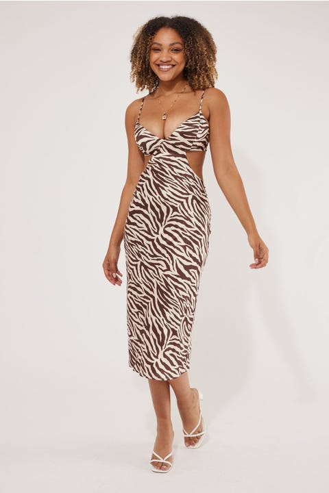 Perfect Stranger Cut Out Zebra Midi Dress Zebra Print
