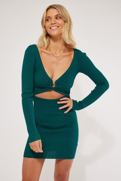 Perfect Stranger Karissa O-Ring Knit Mini Dress Green