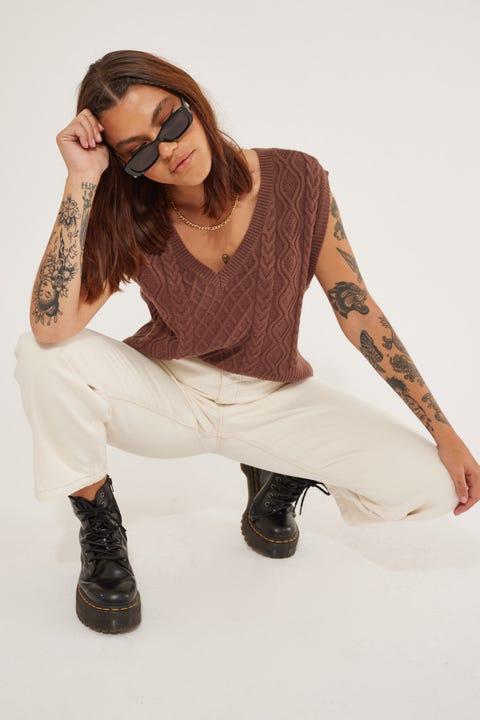 Perfect Stranger Halsey  Knit Vest Brown