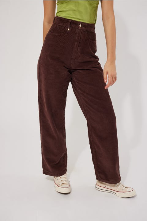 Thrills Billie Baggy Cord Pant Washed Cocoa