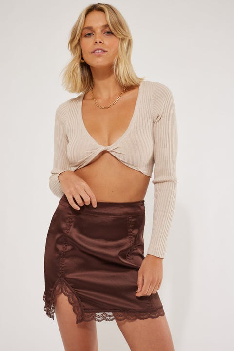Luck & Trouble Satin Lace Mini Skirt Brown
