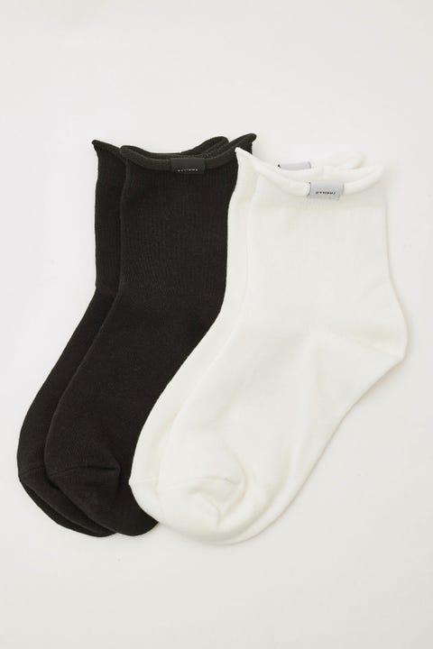 Thrills Multi Logo Socks 2pk White