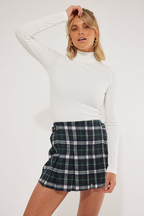 Luck & Trouble Double Pleated Skort Navy Check