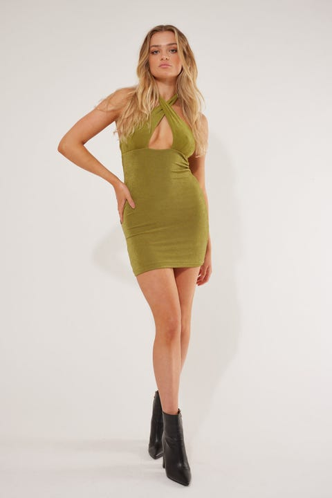 Perfect Stranger Real Love Halter Mini dress Green