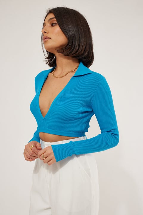 Luck & Trouble Bonjour Collared Long Sleeve Top Blue