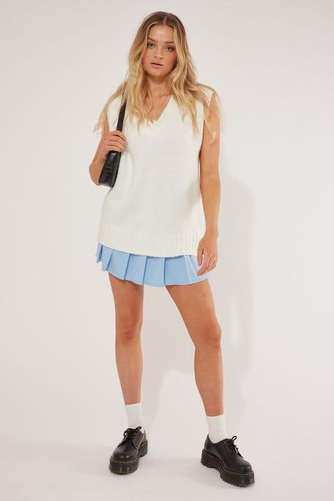Perfect Stranger Oversized Knit Vest White