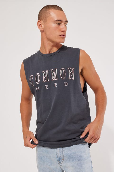Common Need Graduate Muscle Tank Washed Black