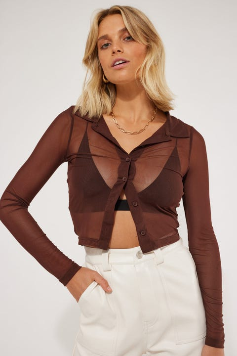 Luck & Trouble Button Up Mesh Shirt Chocolate