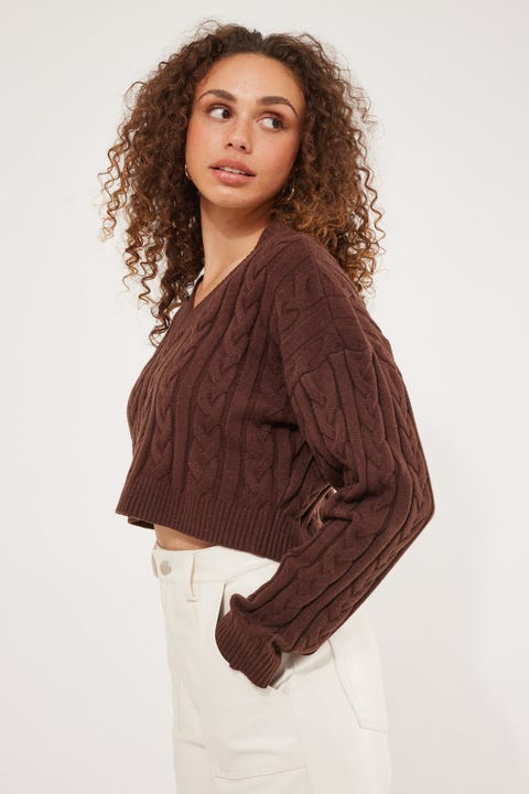 Luck & Trouble Bobbi Knit Sweater Brown