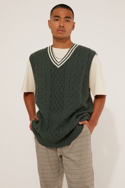 Common Need Cable Knit Vest Green