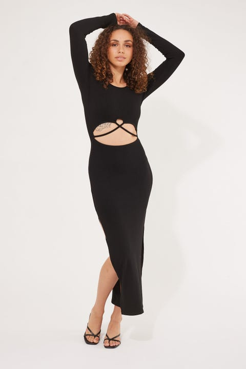 Luck & Trouble Long Sleeve Cut Out Maxi Dress Black