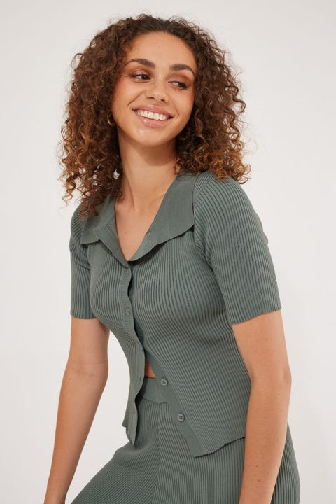 Perfect Stranger Ivy Button Up Knit Top Sage