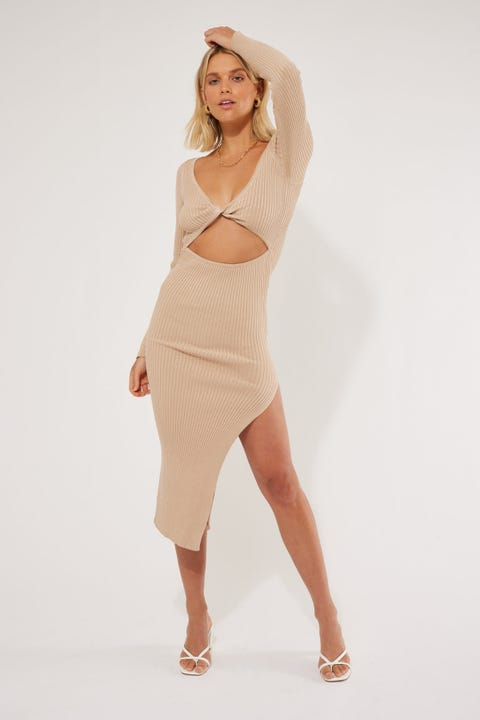 Perfect Stranger Camilla Two-Way Midi Dress Nude