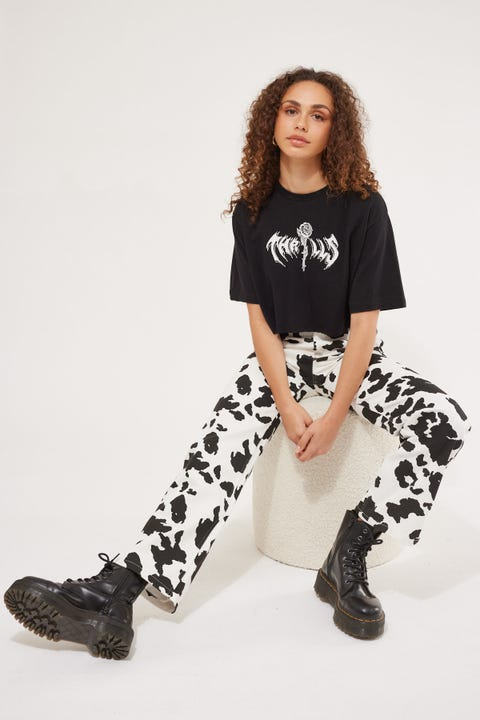 Luck & Trouble Cow Print Straight Leg Pant Cow Print