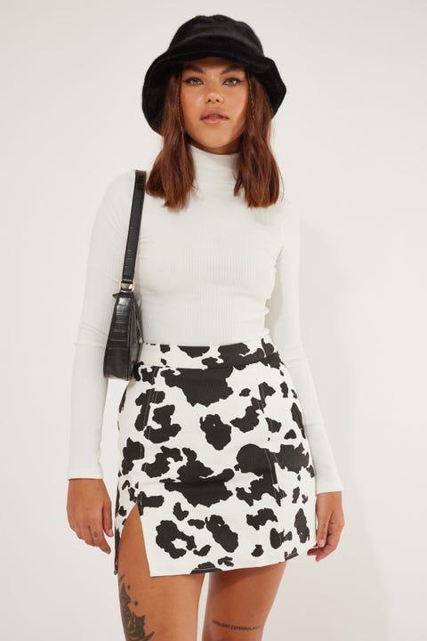 Luck & Trouble Cow Print Mini Skirt Black & White
