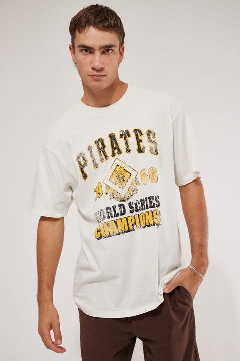 Majestic Athletic Retro Champs Pirates Tee Vintage White