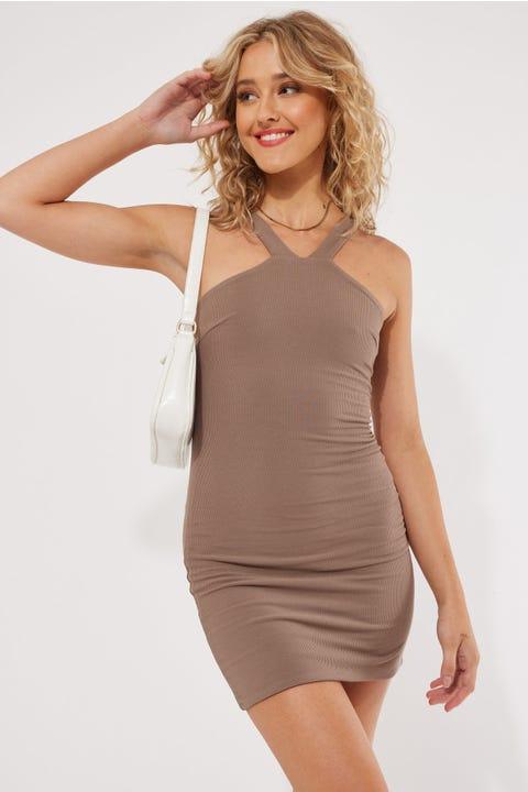 Luvalot Clothing Lilo Mini Dress Mocha