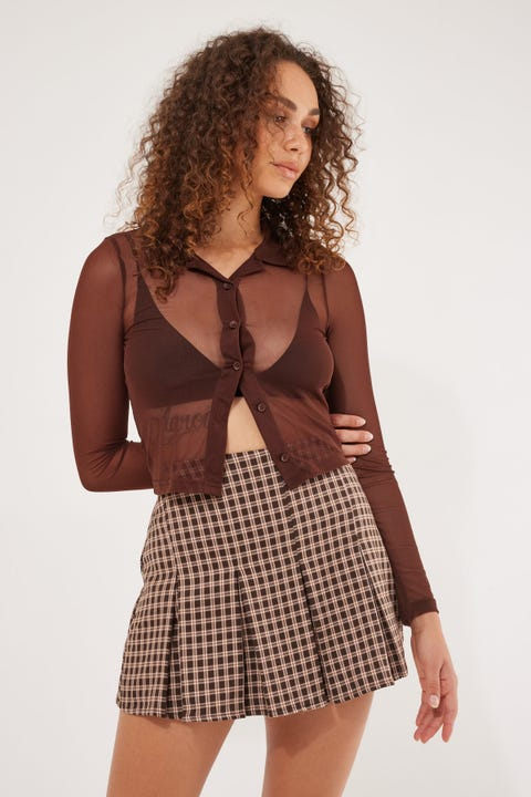 Luck & Trouble Ray Double Pleated Skort Brown Check