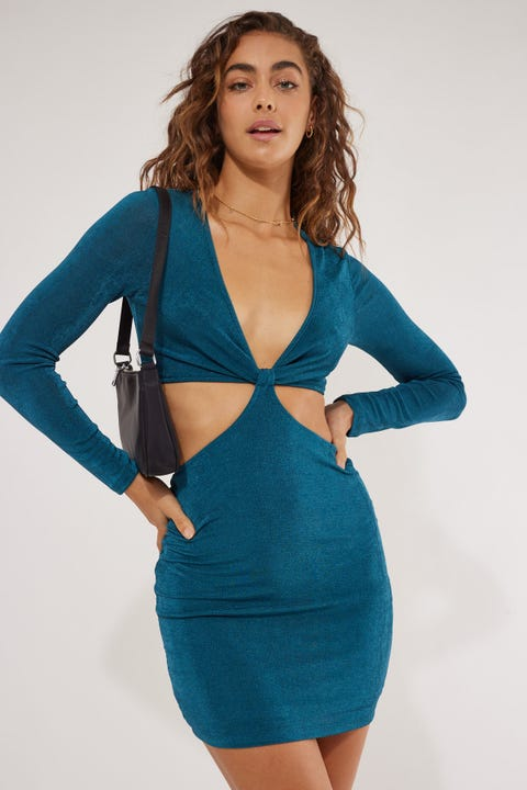 Perfect Stranger Ruby Cut Out Mini Dress Teal