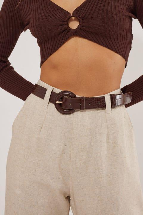 Token Dressy Croc Belt Brown