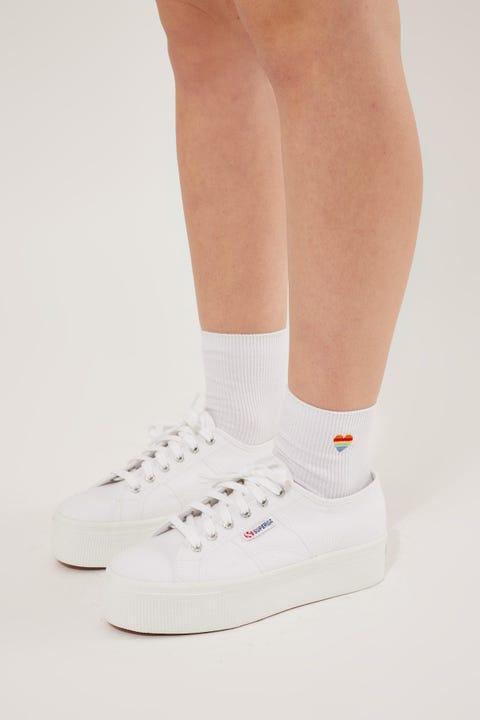 Token Rainbow Heart Sock White