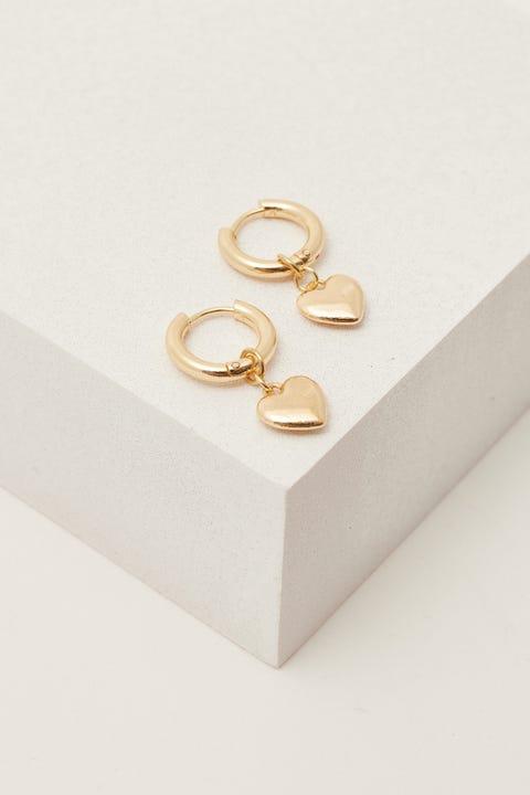 Token Heart Huggie Earring Gold