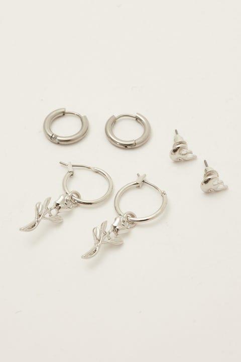 Token Rose Charm Earring Pack Silver