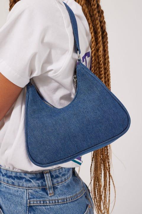 Token Denim Shoulder Bag Blue Denim